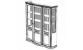 Витрина 3-х дверная с тканью
