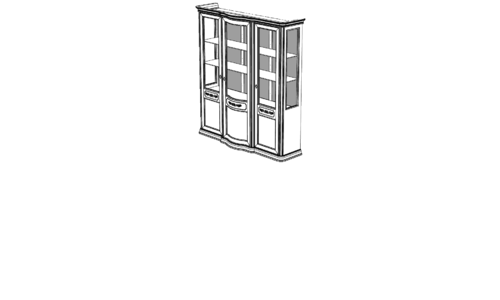 Витрина 3-х дверная с тканью с ценой и фото в Симферополе